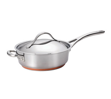 Anolon Nouvelle Stainless 3-qt Covered Saute w/Helper Handle