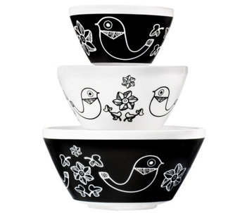 Pyrex Vintage Charm Birds of a Feather 3-PieceMixing Bowl Set - K305757