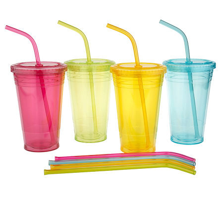 Set of 4 18 oz. Acrylic Double Wall Tumblers with Reusable Straws