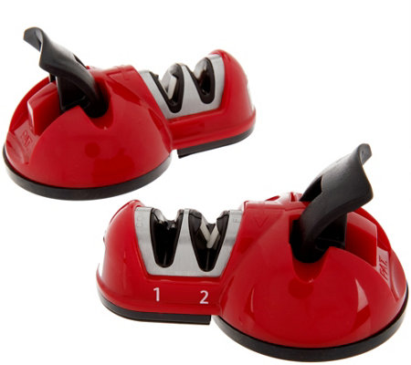 """As Is"" Sharp Shark Set of 2 Countertop 2 Stage Knife Sharpeners"