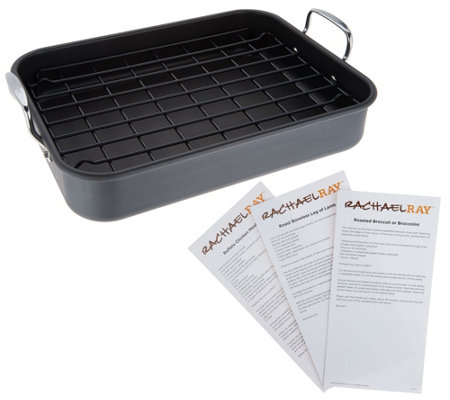 """As Is"" Rachel Ray Hard Anodized Roaster with Rack & Recipes"