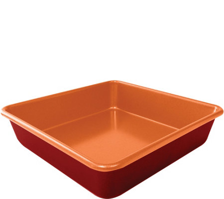 "Red Copper Set of (2) 9.5"" Square Cake Pans"