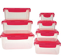 Lock & Lock 7pc Nestable Square Storage Set w/ Color Lid - K44459