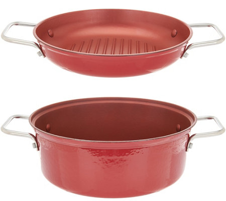Cook's Essentials 4 qt. 2-in-1 Lightweight Cast Iron Pan