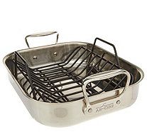 "All-Clad Stainless Steel 11"" x 14"" Roaster with Rack - K47359"