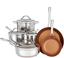 Cooks Essentials Elite Stainless Steel Clad 10pc Cookware Set - K45960