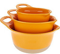 Rachael Ray Set of 3 Dip Glazed Stoneware Mixing Bowls - K46460