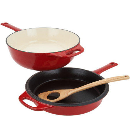 Rachael Ray 4-qt Cast Iron Chef Pan with Skillet & Wooden Spoon
