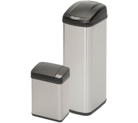Honey-Can-Do 52L and 12L Square Sensor Trash Can Combo