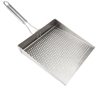 """As Is"" CooksEssentials Stainless Steel Oversized BBQ Grill Plate - K307261"
