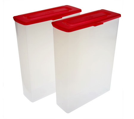 Mr. Lid (2) 12 Cup Cereal Storage Containers W/ Attached Lids