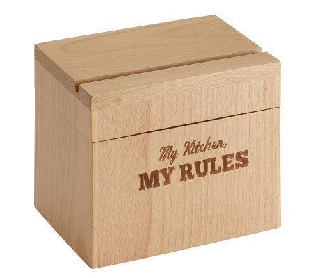 "Cake Boss Beechwood Recipe Box with ""My Kitchen, My Rules"""
