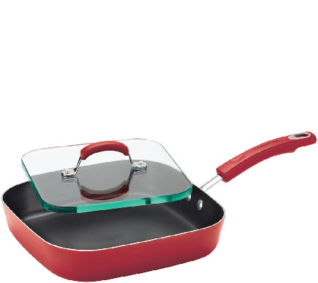 "Rachael Ray Hard Enamel Nonstick 11"" Square Deep Griddle"