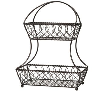 Gourmet Basics by Mikasa Loop & Lattice 2 TierFlatback Basket - K304764