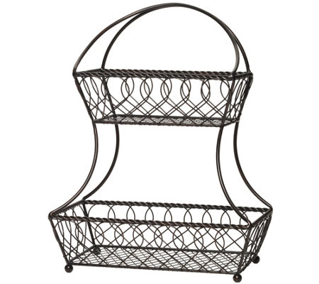 Gourmet Basics by Mikasa Loop & Lattice 2 TierFlatback Basket