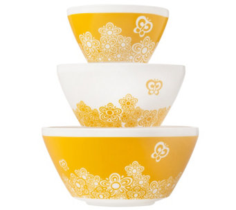 Pyrex Vintage Charm Golden Days 3 piece MixingBowl Set - K305765