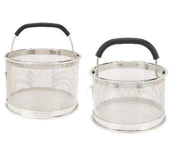 """As Is"" Cooks Essentials S/2 Multi Function Mesh Straining Baskets - K307365"