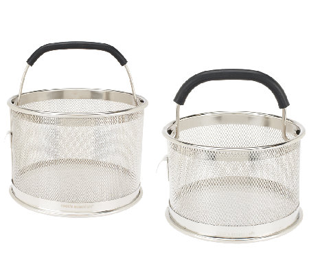 """As Is"" Cooks Essentials S/2 Multi Function Mesh Straining Baskets"