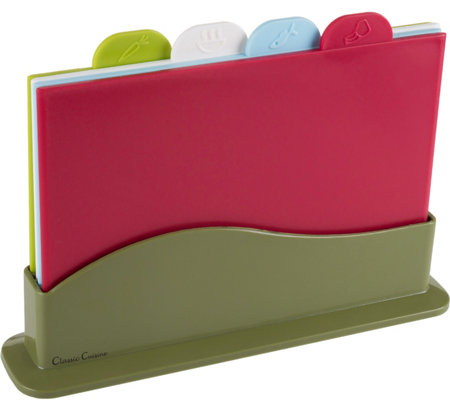 Classic Cuisine 5-Piece Color-Coded Plastic Cutting Board Set