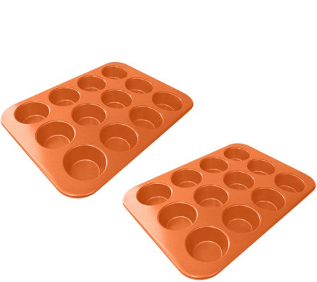 Red Copper Set of 2 Muffin Pans