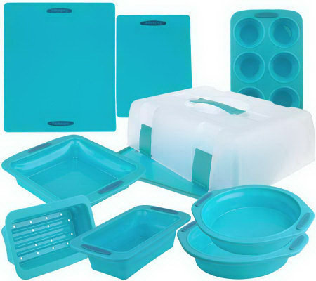 """As Is"" Technique 10-pc Silicone Collapsible Bake& Carry Set"