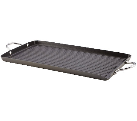 "Rachael Ray Hard-Anodized II 18"" x 10"" Double B urner Grill"