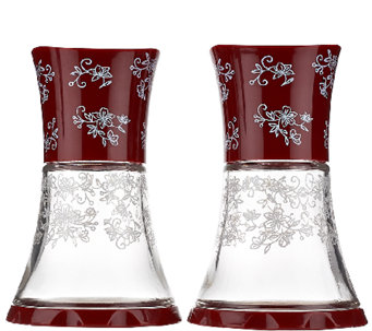 """As Is"" Temp- tations Floral Lace Set of 2_Glass Grinders - K307367"