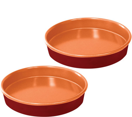 "Red Copper Set of (2) 9.5"" Round Cake Pans"