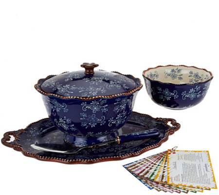 Temp-tations Floral Lace 6pc Serving Platter & Pedestal Bowl Set