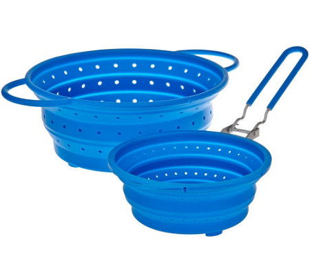 """As Is"" Cooks Essentials S/2 Collapsible Silicone Strainers"