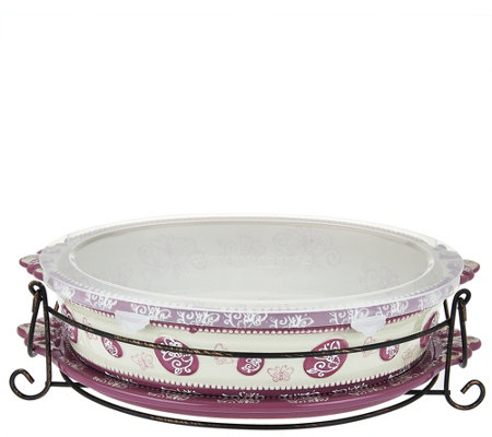 """As Is"" Temp-tations Floral Lace 3 qt Oval Baker with Lid-It"