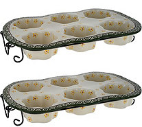 Temp-tations Old World Set of 2 FLower Texas Muffin Pan Set - K46068