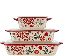 Cook's Essentials Del Rey 3-pc Ceramic Bakers with Lids - K45769