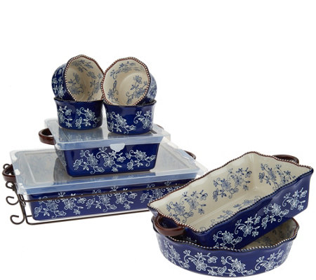 Temp-tations Floral Lace 9-Piece Bake Set