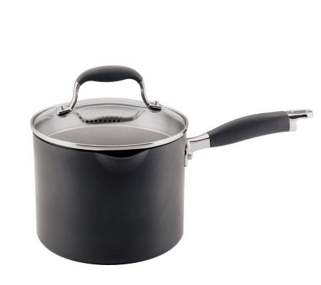Anolon Advanced 3.5 Qt Covered Straining Saucepan with Spouts