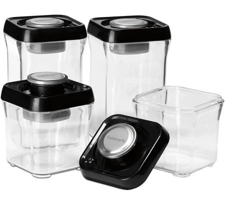 Cuisinart 8-pc Vacuum-Seal Food Storage Set - Black Lids