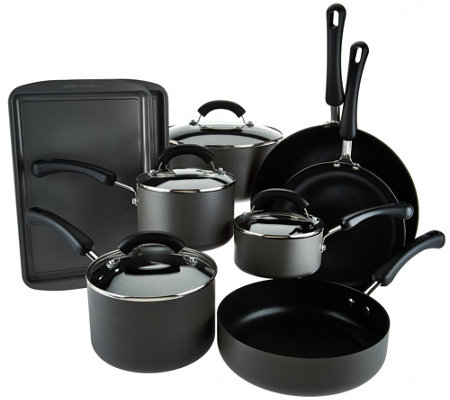 Cook's Essentials 13pc Dishwasher Safe Hard Anodized Cookware Set