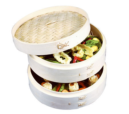 "Asian Origins 10"" 3-Piece Bamboo Steamer"