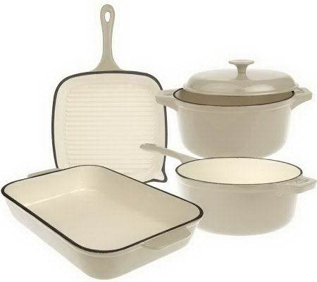 """As Is""Techniqu e Enameled Cast Iron 5-pc. Cook ware Set"