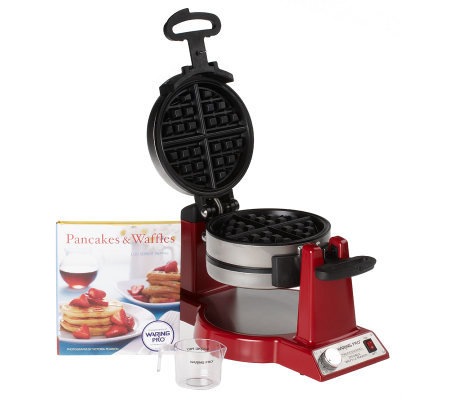 Waring Pro Stainless Steel Double Belgian Waffle Maker with Cookbook
