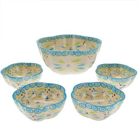 """As Is"" Temp-tations Old World 5 pc. Pasta Bowl Set"