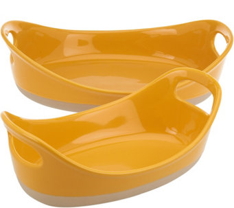 """As Is"" Rachael Ray 2-piece Half Dipped Oval Baker Set - K307674"