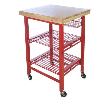 Folding island kitchen cart with colored metal frame for Collapsible kitchen cart