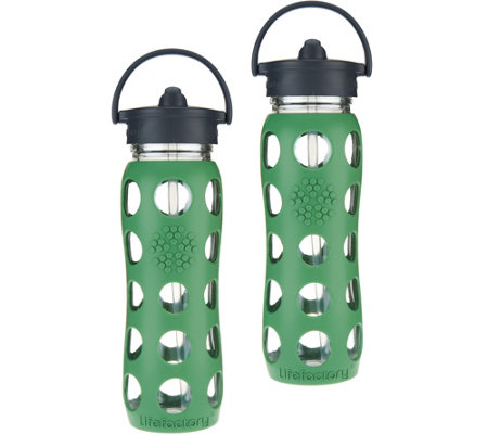 Lifefactory Set of 2 22oz. Glass Travel Bottles w/Silicone Wrap