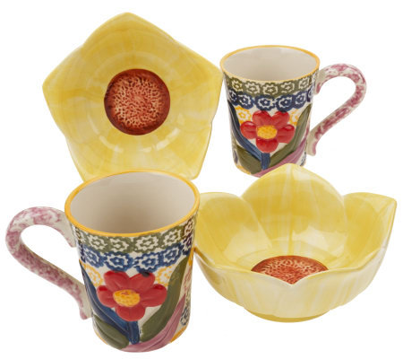 Temp-tations Old World Set of 2 Sculpted Floral Bowl & Mug Set