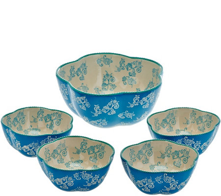 """As Is"" Temp-tations Floral Lace 5 pc. Pasta Bowl Set"