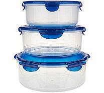 Lock & Lock 3-piece Round Everyday Storage Set with Handle - K45277