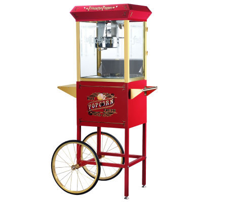 Red Princeton 8-oz Antique-Style Popcorn Machine and Cart