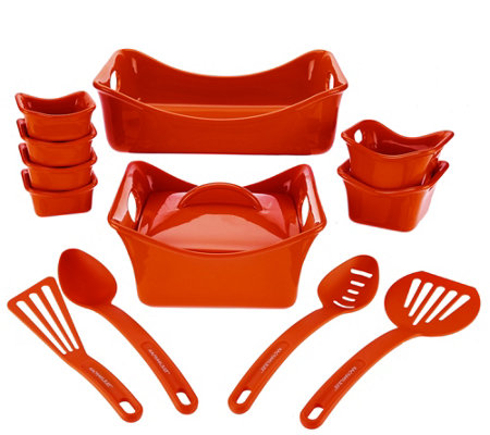 """As Is"" Rachael Ray Bubble & Brown 13-pc Square Bakeware Set"