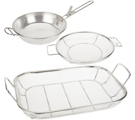 """As Is"" Cooks Essentials BBQ Must-Have 3 pc Stainless Steel Baskets"